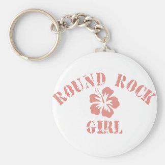 Round Rock Pink Girl Basic Round Button Keychain