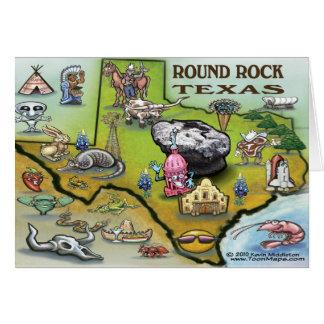 Round Rock Texas Cartoon Map Card
