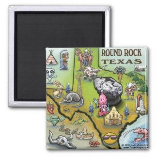Round Rock Texas Cartoon Map Magnet