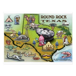 Round Rock Texas Cartoon Map Postcard