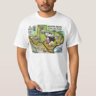 Round Rock Texas Cartoon Map T-Shirt