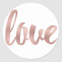 Round rose gold love stickers