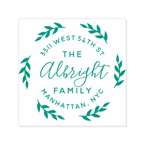 Round Rustic Leaf Wreath Family Name Return Addres Self_inking Stamp