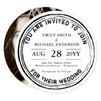 Round Rustic Wedding Invitation Ink Stamp Photo
