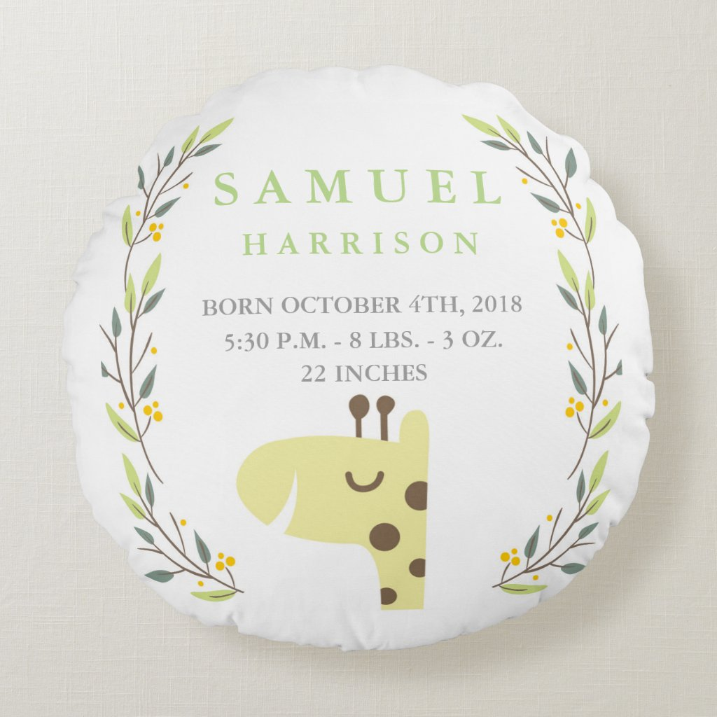 Round Safari Birth Stats Giraffe Nursery Pillow
