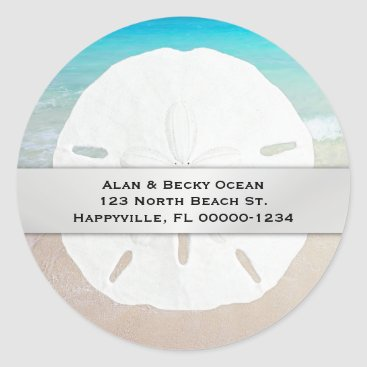 millhill Round Sand Dollar Beach Return Address Labels