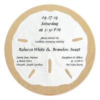 Round Sand Dollar Beach Wedding Invitations