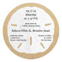 Round Sand Dollar Beach Wedding Invitations