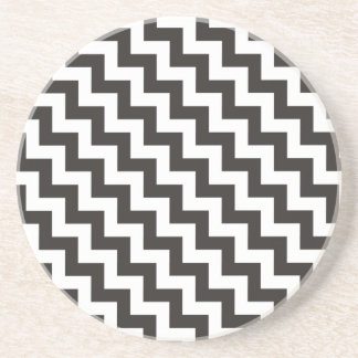 Round Sandstone Coaster, Black and White Chevrons Drink Coaster