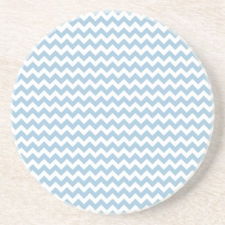 Round Sandstone Coaster, Blue and White Chevrons
