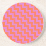 Round Sandstone Coaster, Magenta, Orange Chevrons