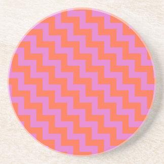Round Sandstone Coaster, Magenta, Orange Chevrons Drink Coaster