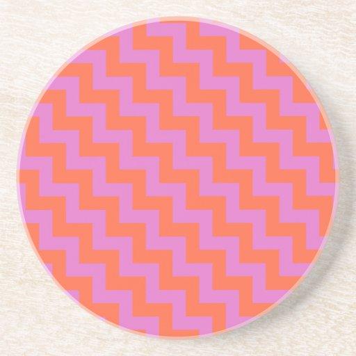 Round sandstone coaster magenta orange chevrons drink coasters zazzle - Stone coasters for drinks ...