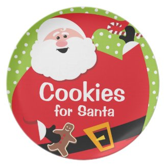 Round Santa Personalized Plate