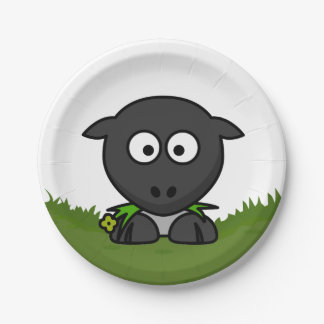 Round Sheep Paper Plate