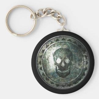 Round Shield Keychain - Black Skull Emblem