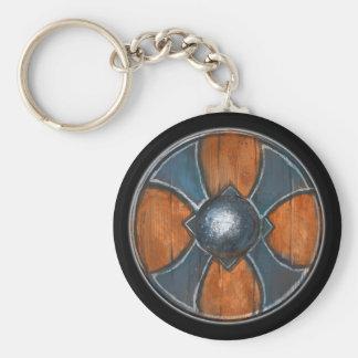 Round Shield Keychain - Blue Cross Emblem