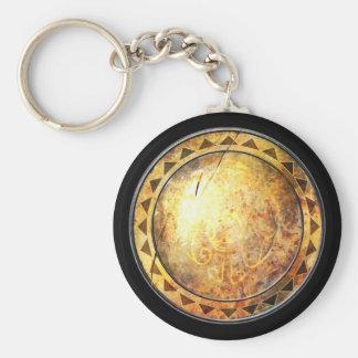 Round Shield Keychain - Golden Sun Emblem
