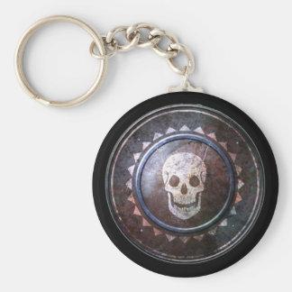 Round Shield Keychain - White Skull Emblem