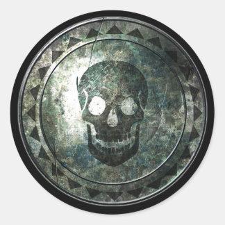 Round Shield - Skull Emblem Classic Round Sticker