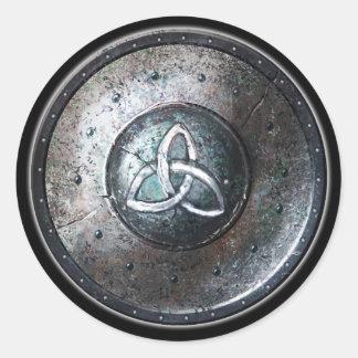 Round Shield Sticker - Celtic Triquetra Emblem