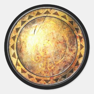 Round Shield Sticker - Golden Sun Emblem