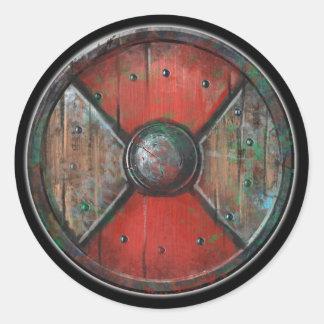 Round Shield Sticker - Red Emblem