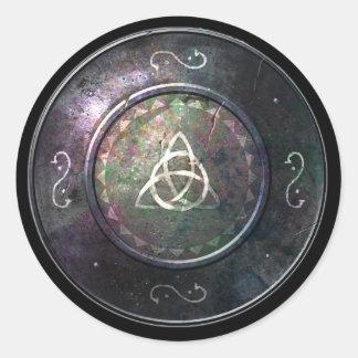 Round Shield Sticker - Triquetra Emblem
