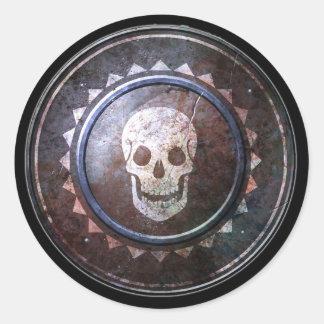 Round Shield Sticker - White Skull Emblem