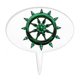 round ships wheel graphic blue green.png cake pick
