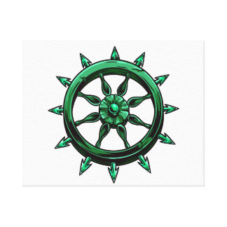 round ships wheel graphic blue green.png canvas print
