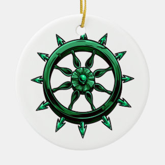 round ships wheel graphic blue green.png christmas ornaments