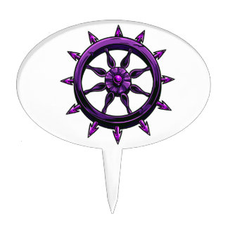round ships wheel graphic purple.png cake topper
