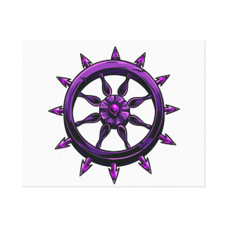 round ships wheel graphic purple.png stretched canvas print