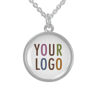 Round Silver Pendant Necklace with Custom Logo