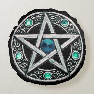 Round Silver & Turquoise Pentagram Throw Pillow