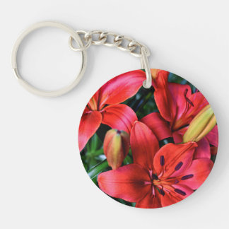 Round Single-sided Keychain - Red Tiger Lilies