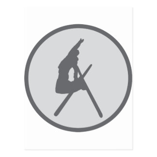round ski jump icon postcard