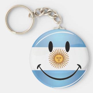 Round Smiling  Argentine Flag Keychain