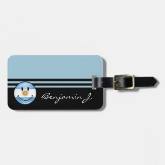 Round Smiling  Argentine Flag Tag For Luggage