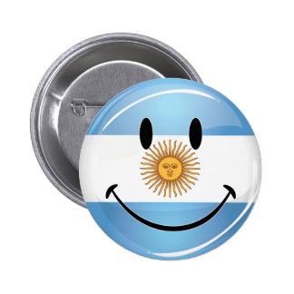 Round Smiling  Argentine Flag Pinback Button