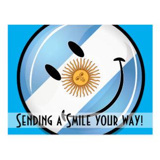 Round Smiling  Argentine Flag Postcard