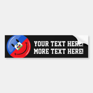 Round Smiling Haitian Flag Bumper Sticker