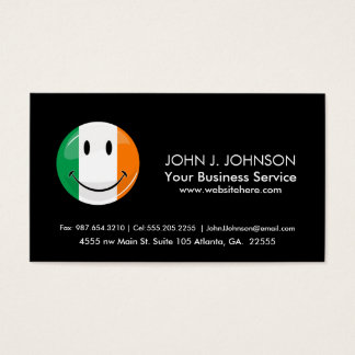 Round Smiling Irish Flag Business Card