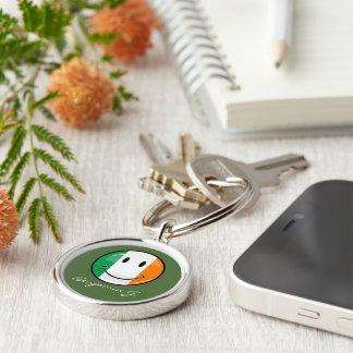 Round Smiling Irish Flag Keychain