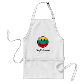 Round Smiling Lithuanian Flag Adult Apron