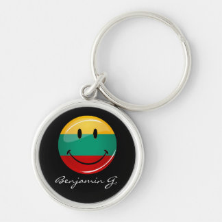 Round Smiling Lithuanian Flag Keychain