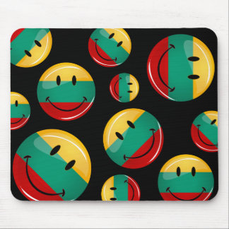 Round Smiling Lithuanian Flag Mouse Pad