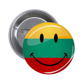 Round Smiling Lithuanian Flag Pinback Button