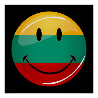 Round Smiling Lithuanian Flag Poster